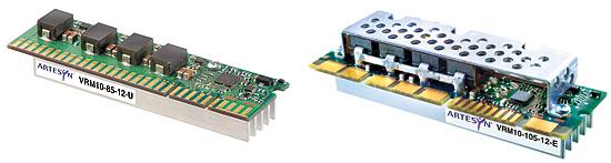 図2 ArtesynTechnologies社のDC-DCコンバータ「VRM10-85-12-U」(左)と「VRM10-105-12-E」(右)。Intel社のVRMの仕様に対応する。共に入力電圧は11V〜12.6V。出力電圧は0.8375V〜1.6V。出力電流はVRM10-85-12-Uが85Aで「VRM10.0/10.1」用。VRM10-105-12-Eが105Aで「VRM10.1/10.2」用。