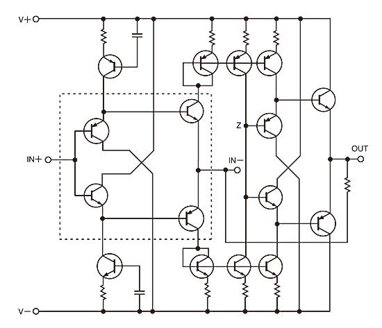 図2この電流フィードバックアンプでは、非反転入力はインピーダンスが高く、反転入力にはバッファがある。