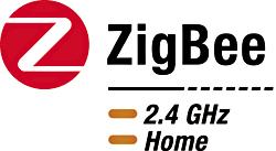 図1 規格そのものにふさわしく、すぐ目に付くZigBeeロゴはシンプルで分かりやすいメッセージをユーザーに伝えている。このバージョンは、2.4GHz帯で動作するデジタル家電製品のパッケージに貼付される。1GHz未満で動作する製品向けのバージョンもある(ZigBeeアライアンス提供)。