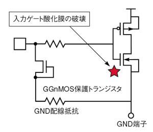 図7 CDM耐性の低い入力保護回路