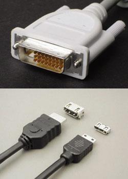 図3 DVIとHDMIのコネクタ