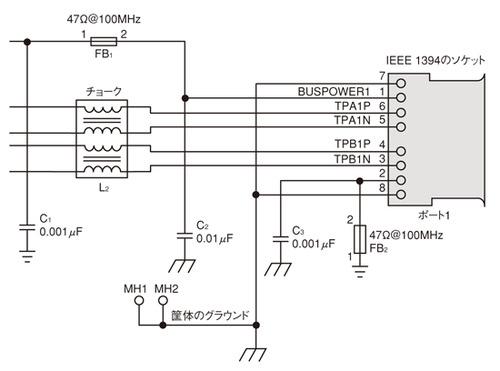 図1 IEEE1394シリアルバスにおけるサージ対策の例