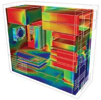 図9 パソコン筐体における熱シミュレーションの結果