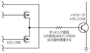 図1 ロジックICからバイポーラトランジスタを駆動する例