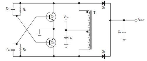 図1 1個のトランスを使用するプッシュプル型DC-DCコンバータ