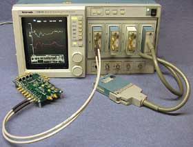 図2 Tektronix社のオシロスコープ「11801」と差動TDRモジュール「SD-24」