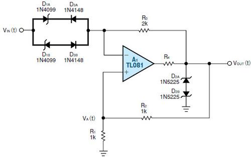 図3 1個のオペアンプで実現した2重ヒステリシス回路