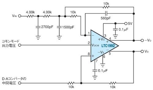 図3 1個のLTC1992で構成したフィルタ回路
