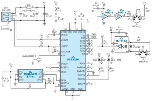 図1 USBとMIDIのインターフェース変換回路