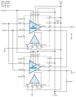 図1 利得3と10の切り替えが可能な計装アンプ回路