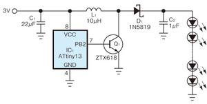 図1 LEDフラッシュライトを駆動するための昇圧回路
