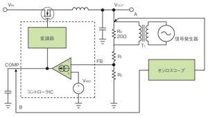 図4 コントローラICのCOMP端子をモニターする測定系