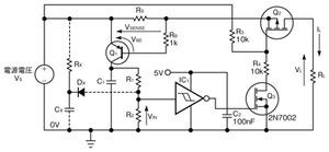 図2 自動リセット機能付きの電流制限回路