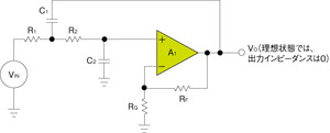 図1 一般的なサレンキー型フィルタの回路構成