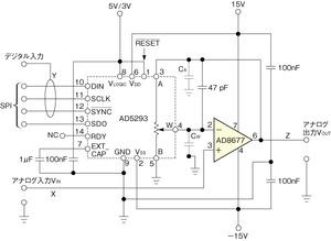 図1 デジタルポテンショメータを利用した除算回路