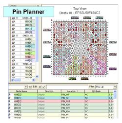 図1:Quartus II のPin Planner機能を用いたピン・アサイン制約の画面表示例