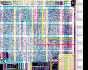 写真1半導体チップ全体に対して占めるプロセッサコアの面積(提供:NXP社)