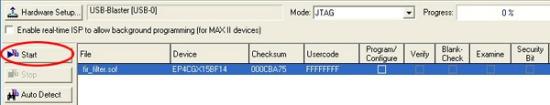 図5:Programmerウィンドウ画面に表示されるスタートボタン(赤丸の部分)
