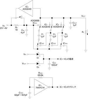図1スイッチドキャパシタを用いたDC-DC変換回路