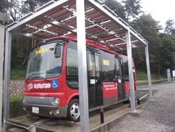 写真1 早稲田大学が開発した電動バス「WEB-3」