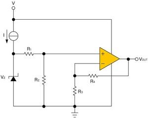 図3 ツェナーダイオードを利用した電圧リファレンス回路(提供:TexasInstrument社)