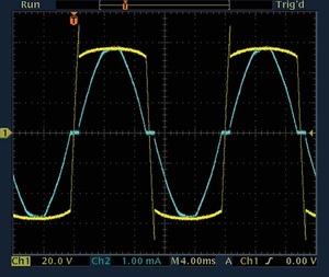 画面1 ネオン放電管のオシロスコープ波形