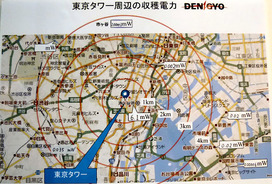 図2 地上デジタル放送用レクテナで収穫できる電力量のマップ