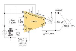 図3 「XTR105」を用いた回路例(提供:TI)