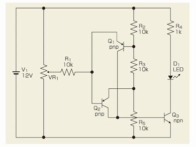 図4 トランジスタ3個だけのウィンドウコンパレータ