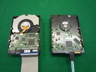 図1 Ultra ATA対応HDDとSerial ATA対応HDD