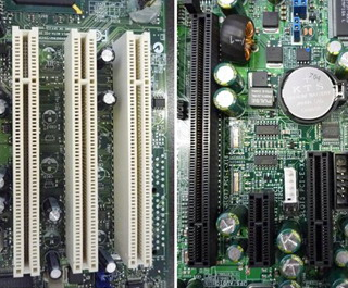 図1 PCIバス(左)とPCI Expressバス(右)