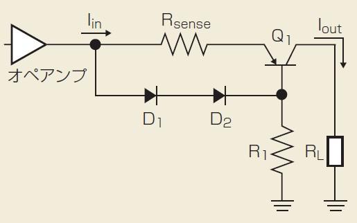 図1 トランジスタとダイオード、抵抗を使った電流制限回路の例