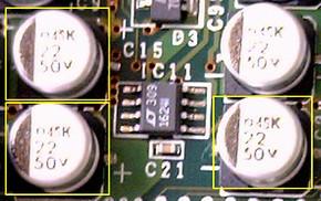 図2 電源の1次側に実装されていたコンデンサ
