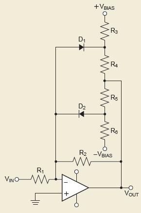図2 ダイオードと抵抗を使った折れ線近似回路の例