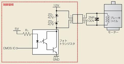 図2 ブレーキ駆動用トランジスタの不具合が生じた回路
