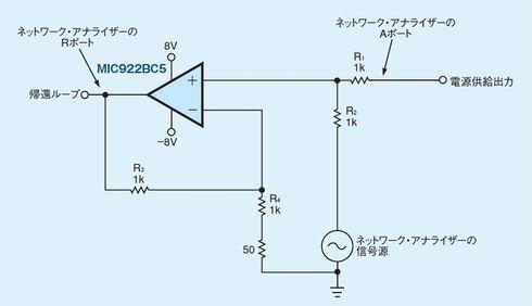 図2:オペアンプを使って信号を印加する。変圧器を使う代わりにオペアンプを使って交流信号を印加すれば、低い周波数の交流信号も節約なく印加できる。