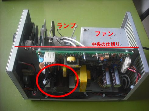 図7:光源機器の放熱構造と基板の位置関係