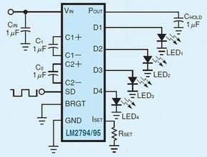 図1:昔ながらのLED調光回路<br>外部からのPWM信号がドライバのデューティサイクルを制御する。