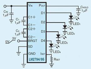 図2:アナログ入力インターフェースを用いたLED調光回路<br>この回路では、アプリケーション・プロセッサーにDACが搭載されている必要がある。