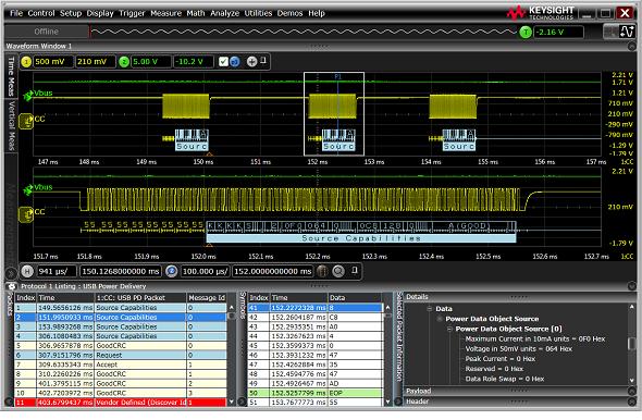 Infiniium Sシリーズ/9000シリーズのオプション機能として新たにリリースされたUSB-PDトリガー&デコード機能
