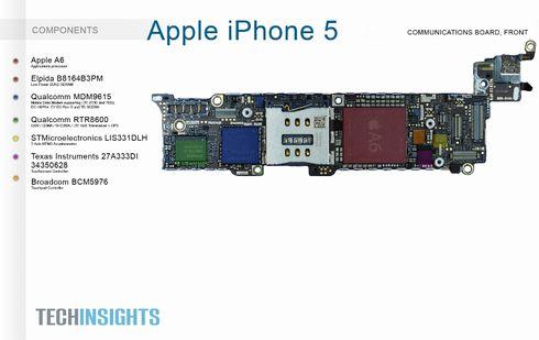 iPhone 5の通信ボードの前面