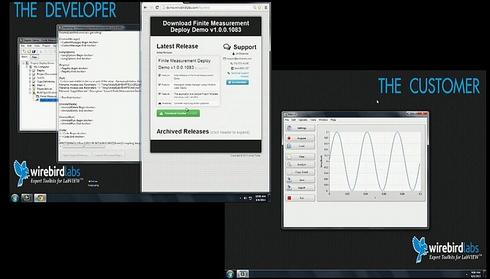 """Wirebird Labのアプリケーション配布アプリ「Deploy」である(画像中、左上が配布する側、右下は配布を受けるユーザー側)。LabVIEWで作成したアプリケーションを配布する際には、いくつかの手動のステップを含む多くのツールを使わなければならない。しかし""""LabVIEW Add-Ons of the Year""""を受賞したWirebird Labsの「Deploy」を使えば、シングルクリックでアプリケーションをビルドして新しいインストーラを作成し、それをWebやイントラネットを通じて顧客に届けられる。DeployはEXEをビルドするだけでなくアプリケーションのWebページ(リリースノート)も自動的に作成する。LabVIEW 2013のオートアップデートAPIを使い、ユーザー側はソフトのアップデートを自動的に検知して、そのままアップデートさせることもできる。このDeploy自身もLabVIEWで作成されたものだ(クリックで拡大)"""