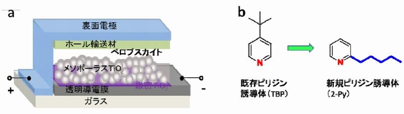 図1a:順セル構造ペロブスカイト太陽電池の模式図/図1b:ピリジン誘導体の分子構造(左)と青色で示すアルキル基のついた新規ピリジン誘導体の分子構造(右) (クリックで拡大) 出典:NIMS