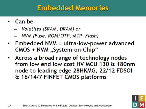 埋め込みメモリ技術の概要