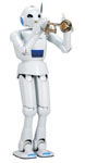 トランペットを演奏するトヨタ・パートナーロボット、二足歩行タイプ。人間のアシスタントや福祉用として開発された