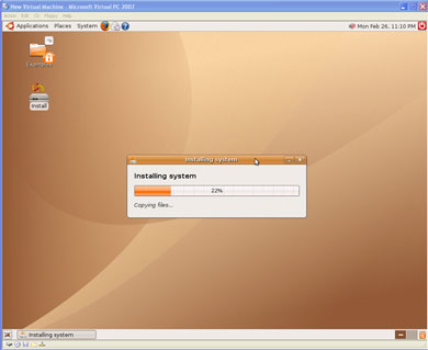 Installing Ubuntu in Virtual PC 2007