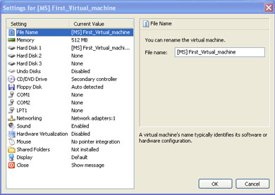 Virtual PC 2007 settings