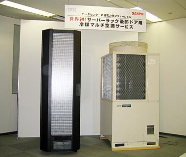 RDHXを設置したサーバクーラー(左)と室外ユニット