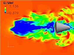 将来型宇宙輸送システムの研究における数値解析の様子(資料提供:JAXA)