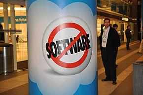 会場に各所に設置された「Not Software」を示すアイコン